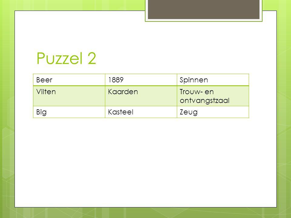 Puzzel 2 Beer 1889 Spinnen Vilten Kaarden Trouw- en ontvangstzaal Big