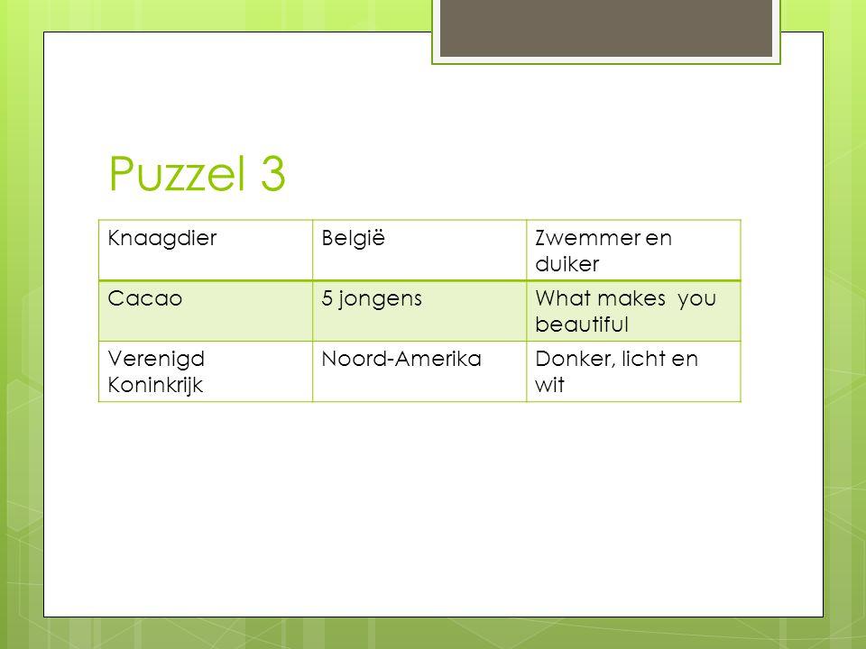 Puzzel 3 Knaagdier België Zwemmer en duiker Cacao 5 jongens