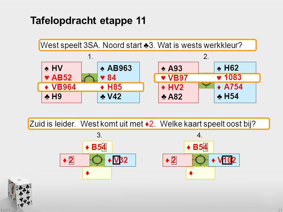 Tafelopdracht etappe 11 West speelt 3SA. Noord start ♣3. Wat is wests werkkleur 1. 2.