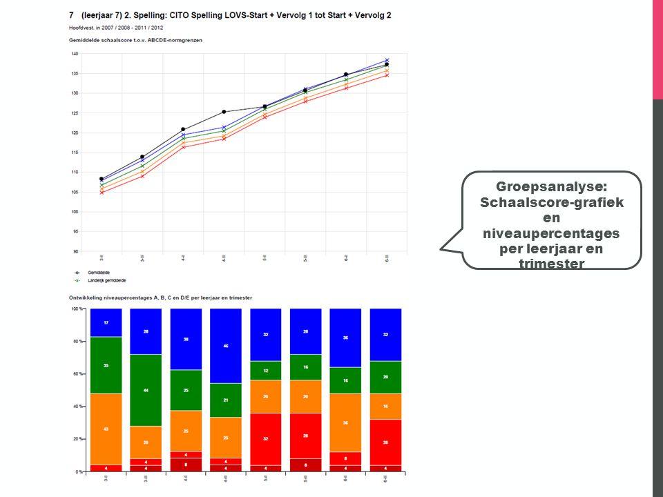 Schaalscore-grafiek en niveaupercentages per leerjaar en trimester