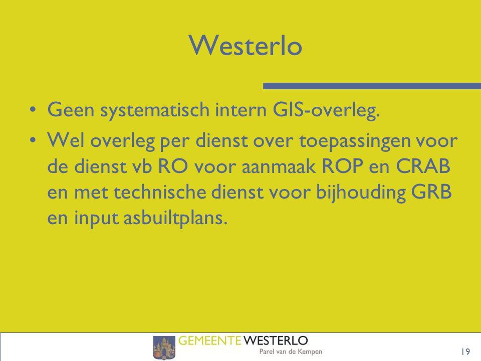 Westerlo Geen systematisch intern GIS-overleg.