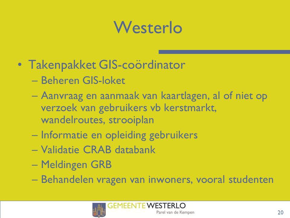Westerlo Takenpakket GIS-coördinator Beheren GIS-loket