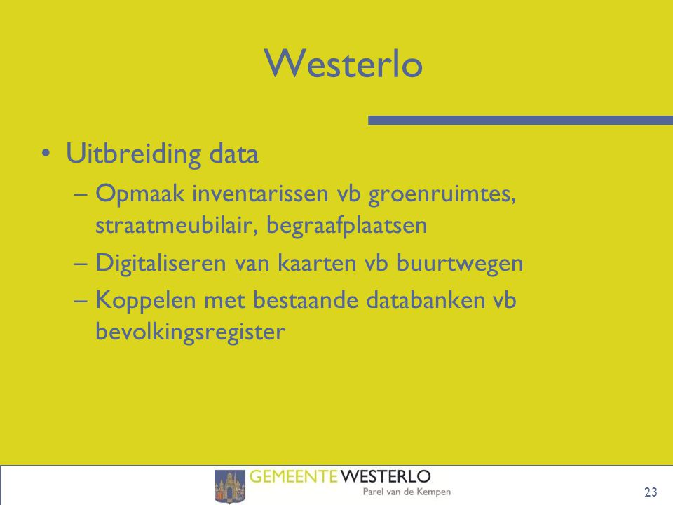 Westerlo Uitbreiding data