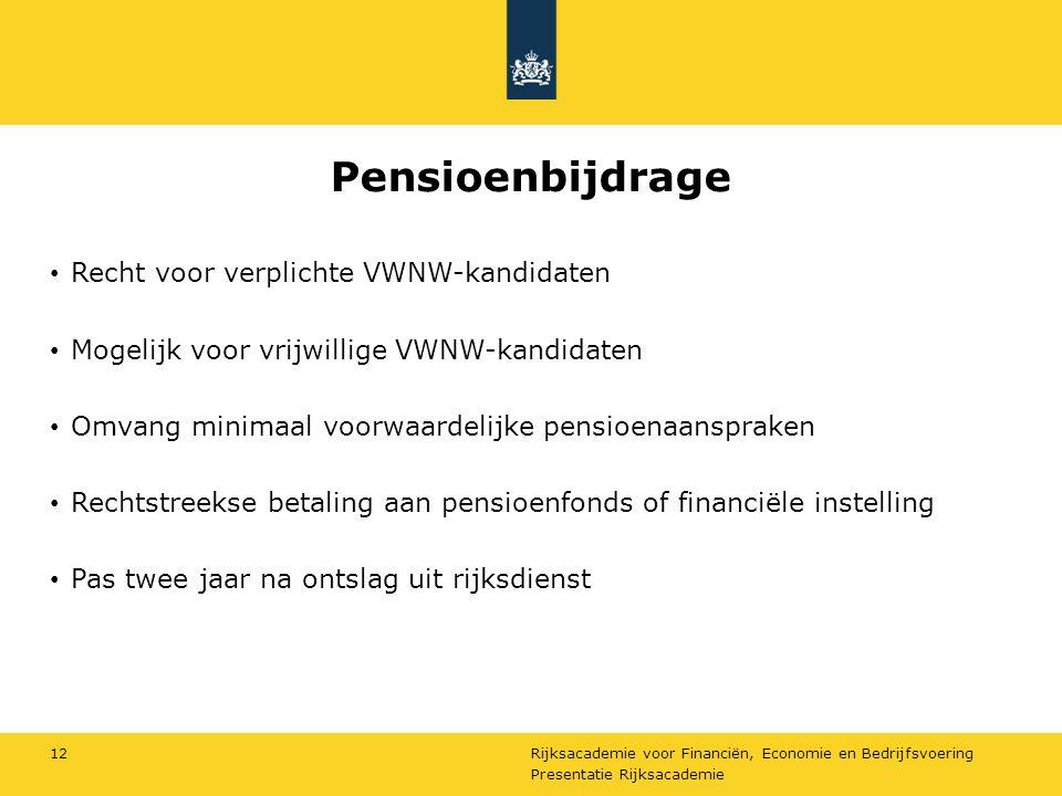 Pensioenbijdrage Recht voor verplichte VWNW-kandidaten