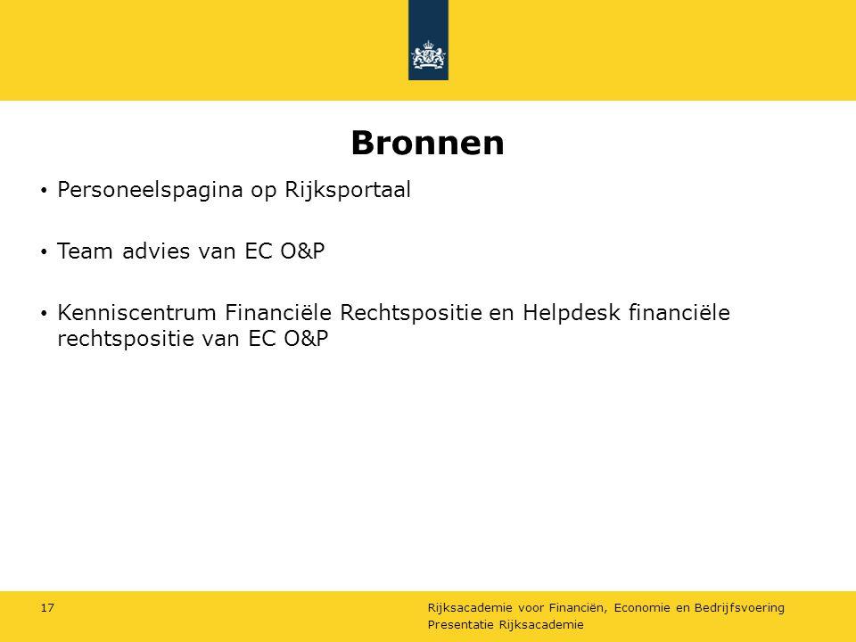 Bronnen Personeelspagina op Rijksportaal Team advies van EC O&P