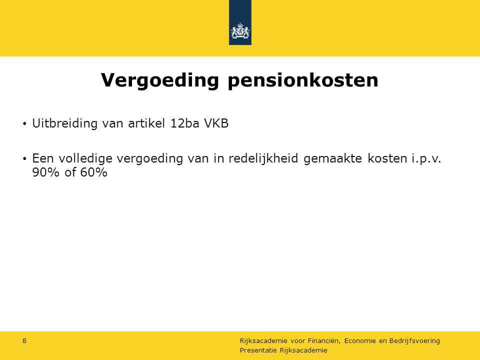 Vergoeding pensionkosten