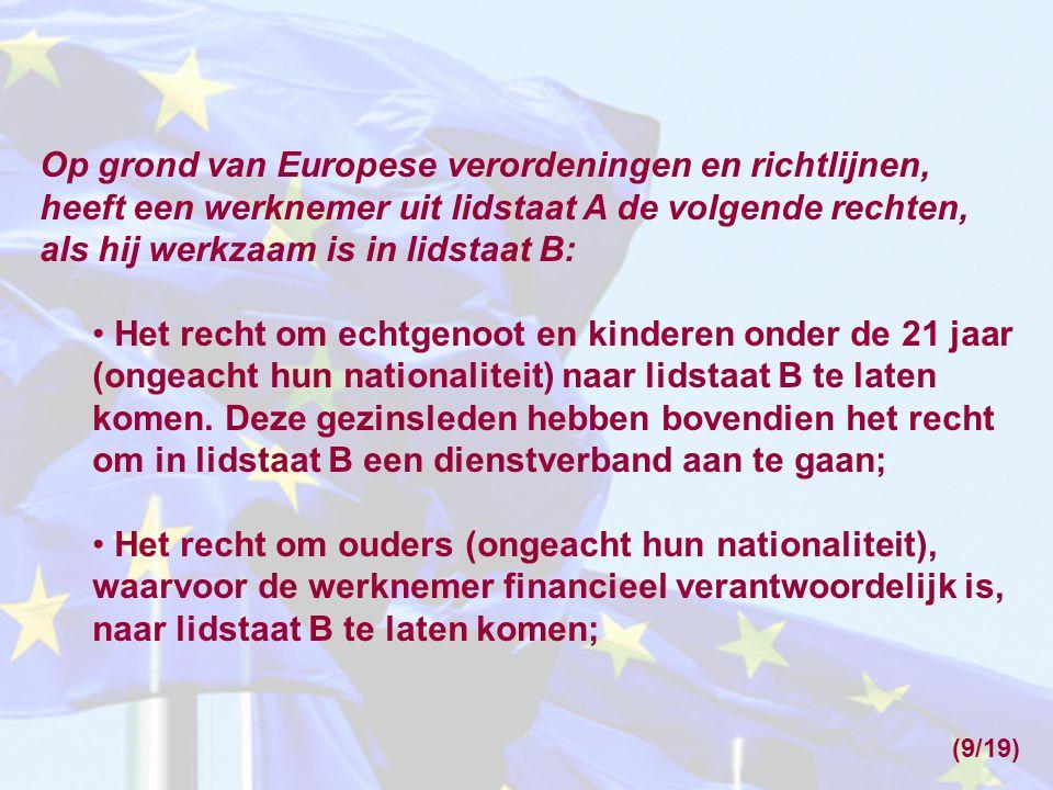 Op grond van Europese verordeningen en richtlijnen, heeft een werknemer uit lidstaat A de volgende rechten, als hij werkzaam is in lidstaat B: