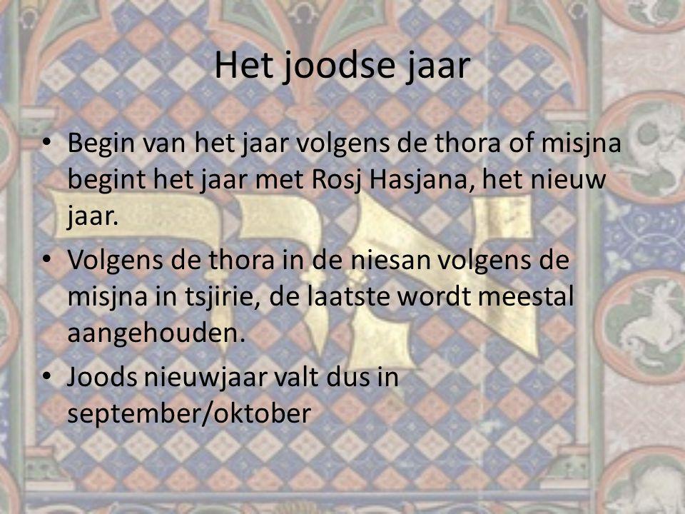 Het joodse jaar Begin van het jaar volgens de thora of misjna begint het jaar met Rosj Hasjana, het nieuw jaar.