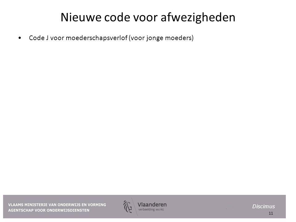 Nieuwe code voor afwezigheden