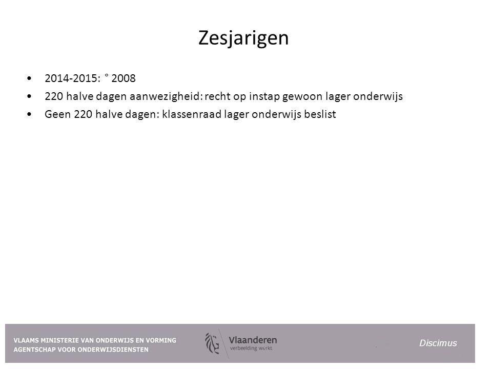 Zesjarigen 2014-2015: ° 2008. 220 halve dagen aanwezigheid: recht op instap gewoon lager onderwijs.