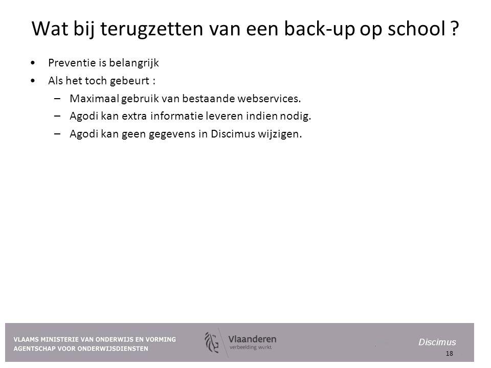 Wat bij terugzetten van een back-up op school