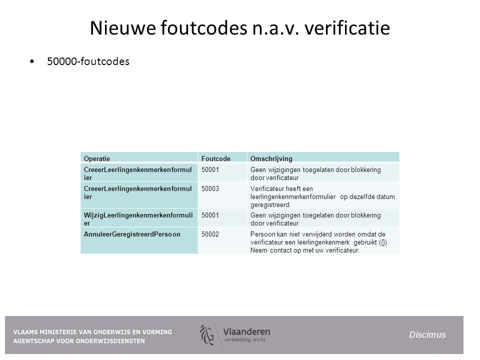 Nieuwe foutcodes n.a.v. verificatie