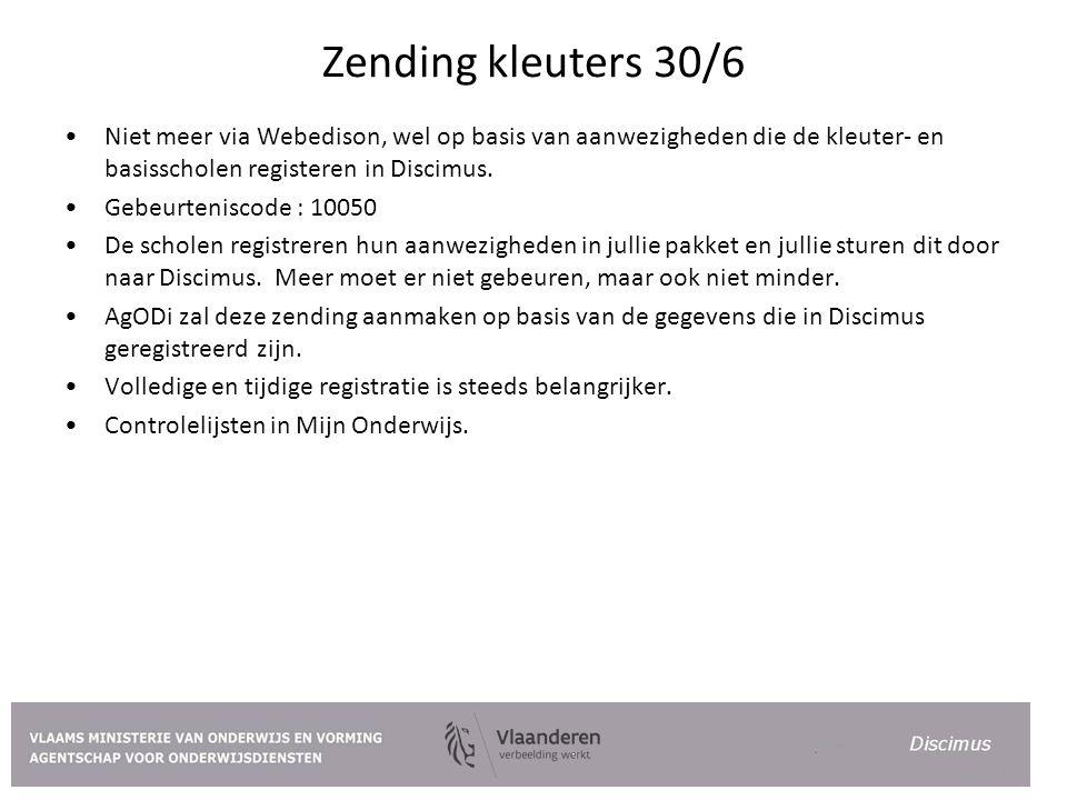 Zending kleuters 30/6 Niet meer via Webedison, wel op basis van aanwezigheden die de kleuter- en basisscholen registeren in Discimus.