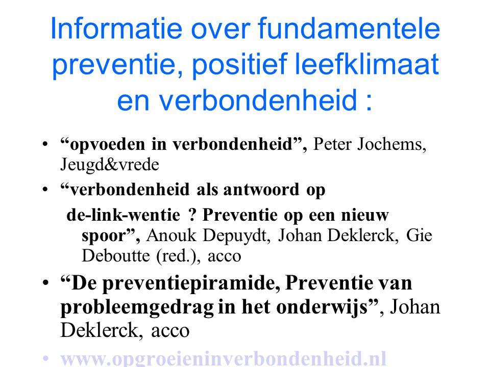 Informatie over fundamentele preventie, positief leefklimaat en verbondenheid :