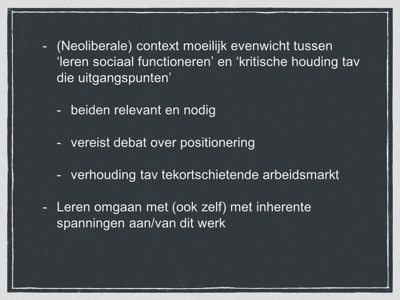 (Neoliberale) context moeilijk evenwicht tussen 'leren sociaal functioneren' en 'kritische houding tav die uitgangspunten'
