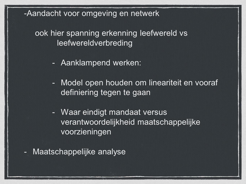 -Aandacht voor omgeving en netwerk