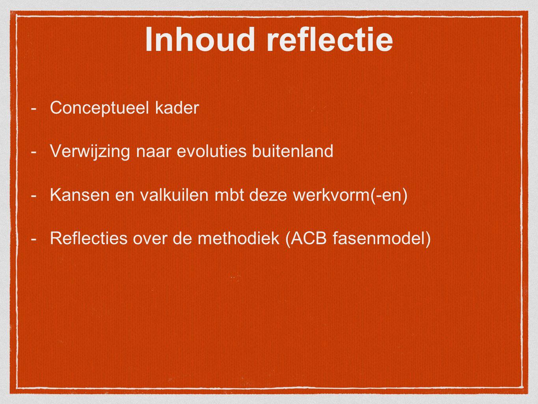 Inhoud reflectie Conceptueel kader