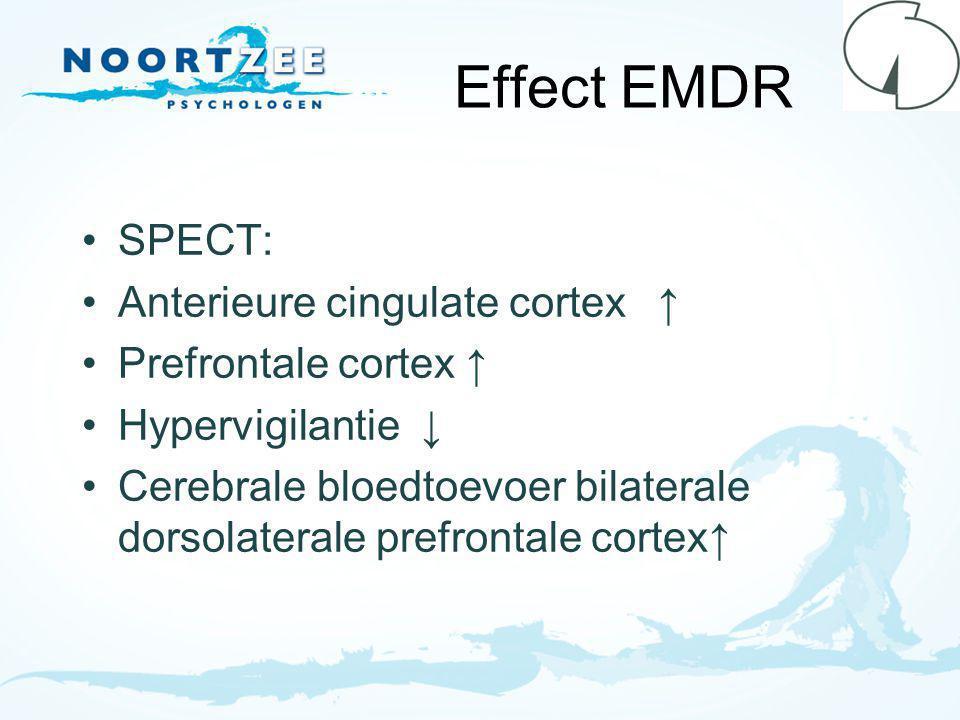 Effect EMDR SPECT: Anterieure cingulate cortex ↑ Prefrontale cortex ↑