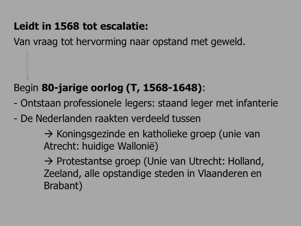 Leidt in 1568 tot escalatie: