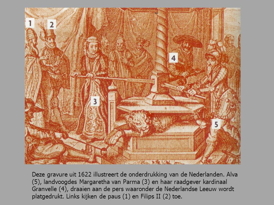 Deze gravure uit 1622 illustreert de onderdrukking van de Nederlanden