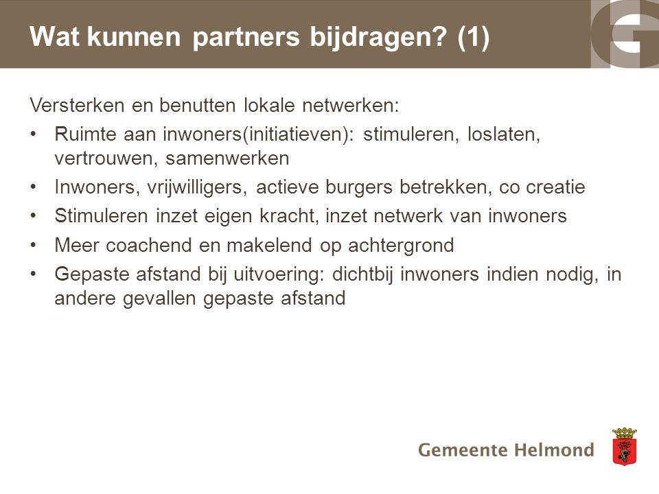 Wat kunnen partners bijdragen (1)