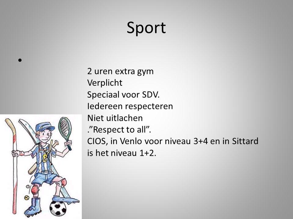 Sport 2 uren extra gym Verplicht Speciaal voor SDV.
