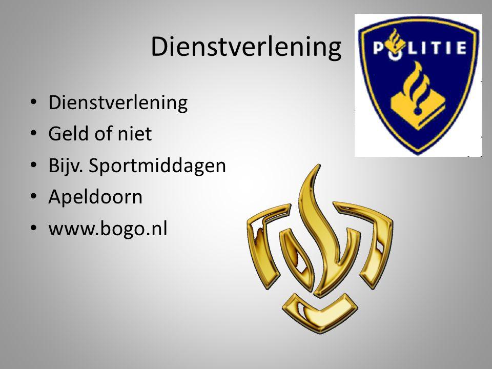 Dienstverlening Dienstverlening Geld of niet Bijv. Sportmiddagen
