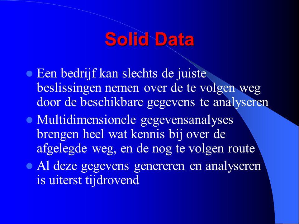 Solid Data Een bedrijf kan slechts de juiste beslissingen nemen over de te volgen weg door de beschikbare gegevens te analyseren.