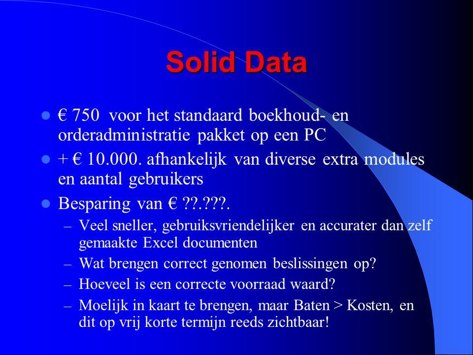 Solid Data € 750 voor het standaard boekhoud- en orderadministratie pakket op een PC.
