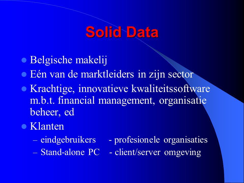 Solid Data Belgische makelij Eén van de marktleiders in zijn sector