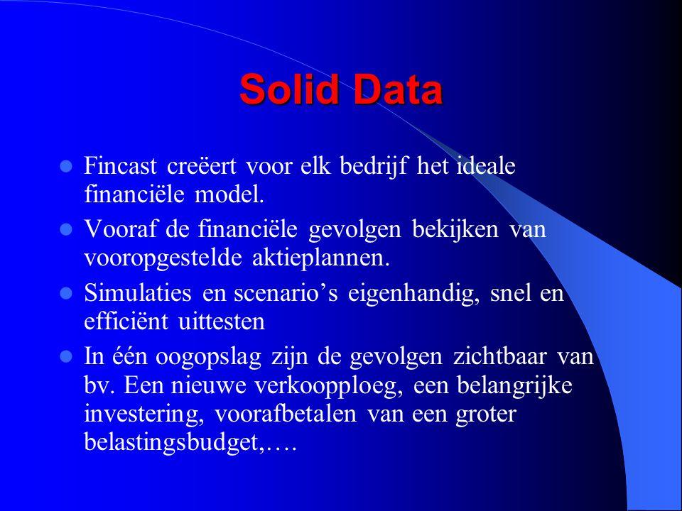 Solid Data Fincast creëert voor elk bedrijf het ideale financiële model. Vooraf de financiële gevolgen bekijken van vooropgestelde aktieplannen.