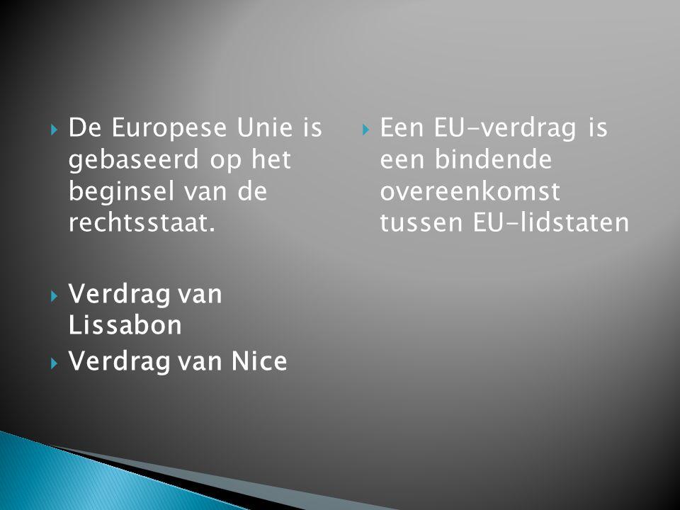 De Europese Unie is gebaseerd op het beginsel van de rechtsstaat.