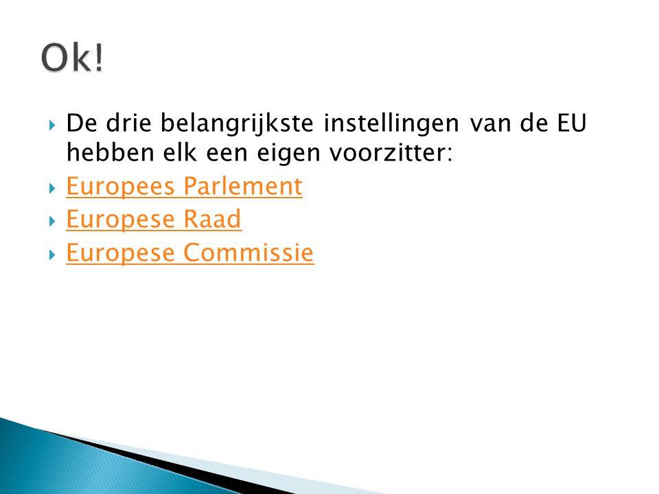 Ok! De drie belangrijkste instellingen van de EU hebben elk een eigen voorzitter: Europees Parlement.