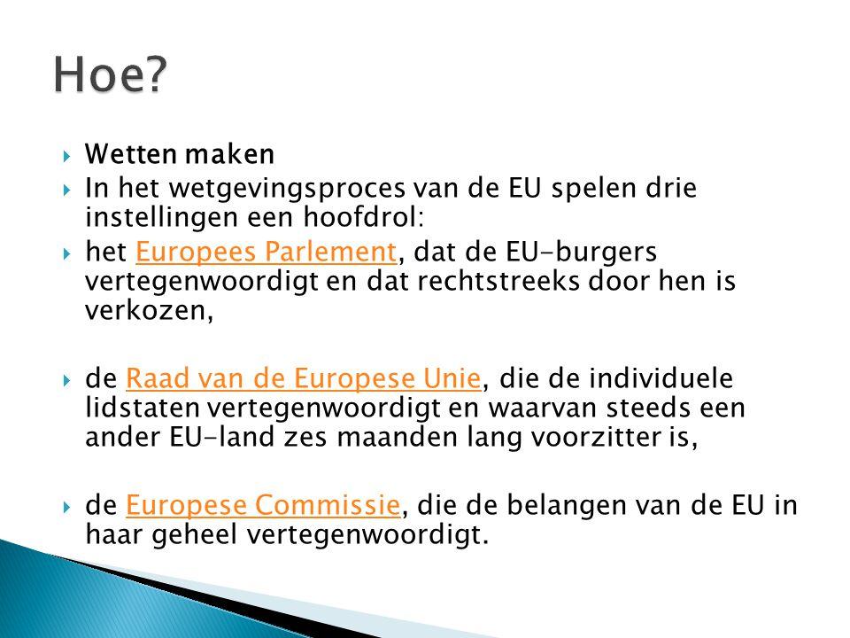 Hoe Wetten maken. In het wetgevingsproces van de EU spelen drie instellingen een hoofdrol: