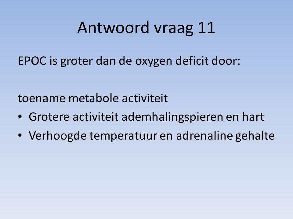 Antwoord vraag 11 EPOC is groter dan de oxygen deficit door:
