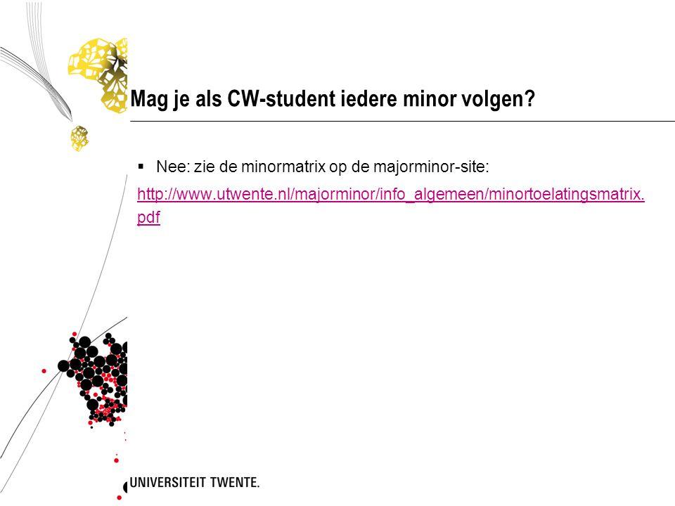 Mag je als CW-student iedere minor volgen