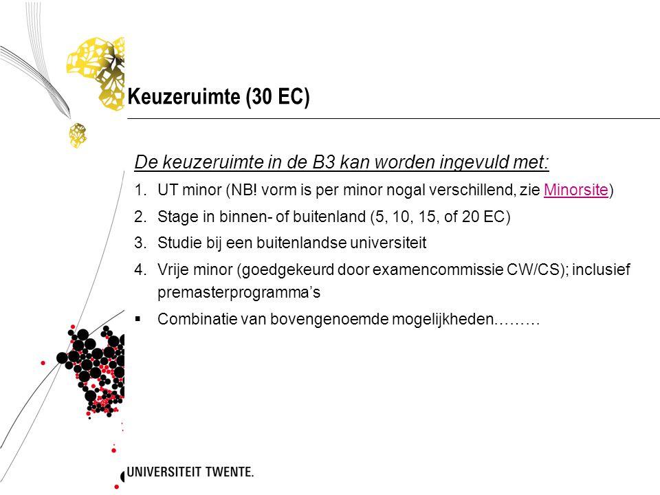 Keuzeruimte (30 EC) De keuzeruimte in de B3 kan worden ingevuld met:
