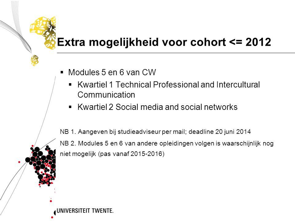 Extra mogelijkheid voor cohort <= 2012