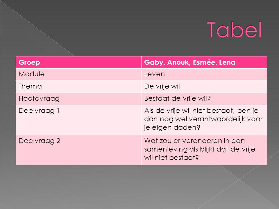 Tabel Groep Gaby, Anouk, Esmée, Lena Module Leven Thema De vrije wil