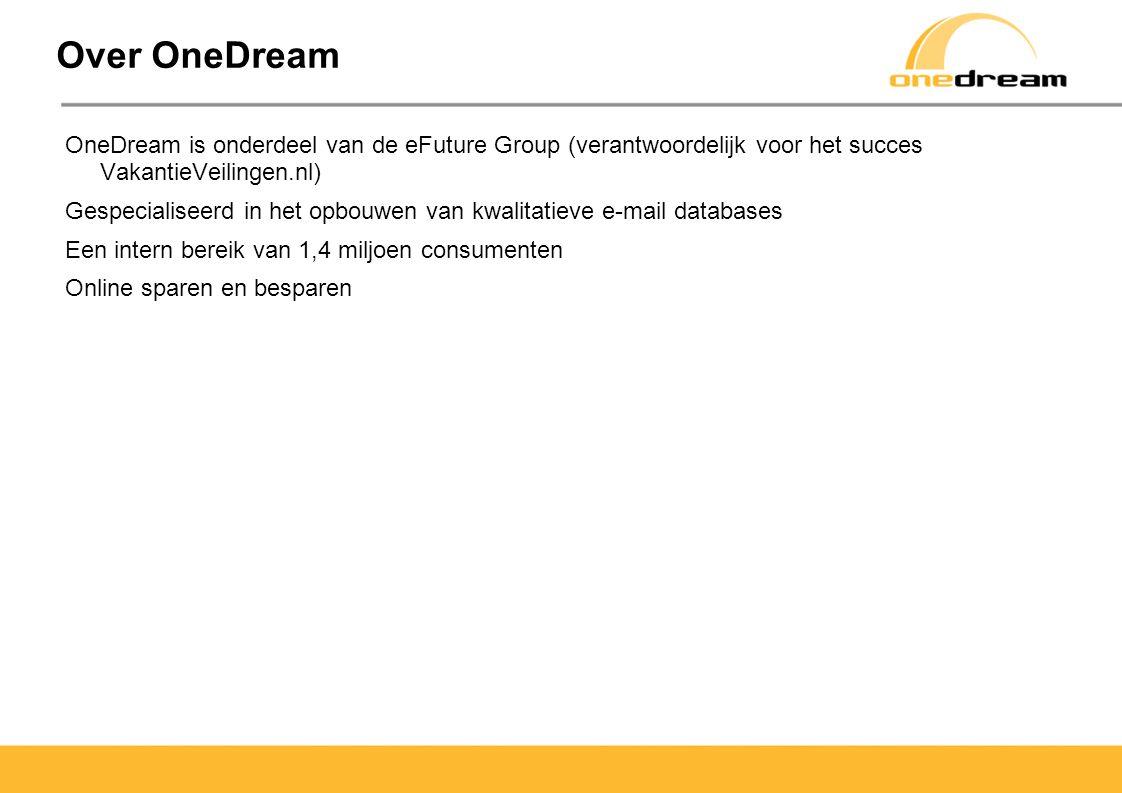 Over OneDream OneDream is onderdeel van de eFuture Group (verantwoordelijk voor het succes VakantieVeilingen.nl)