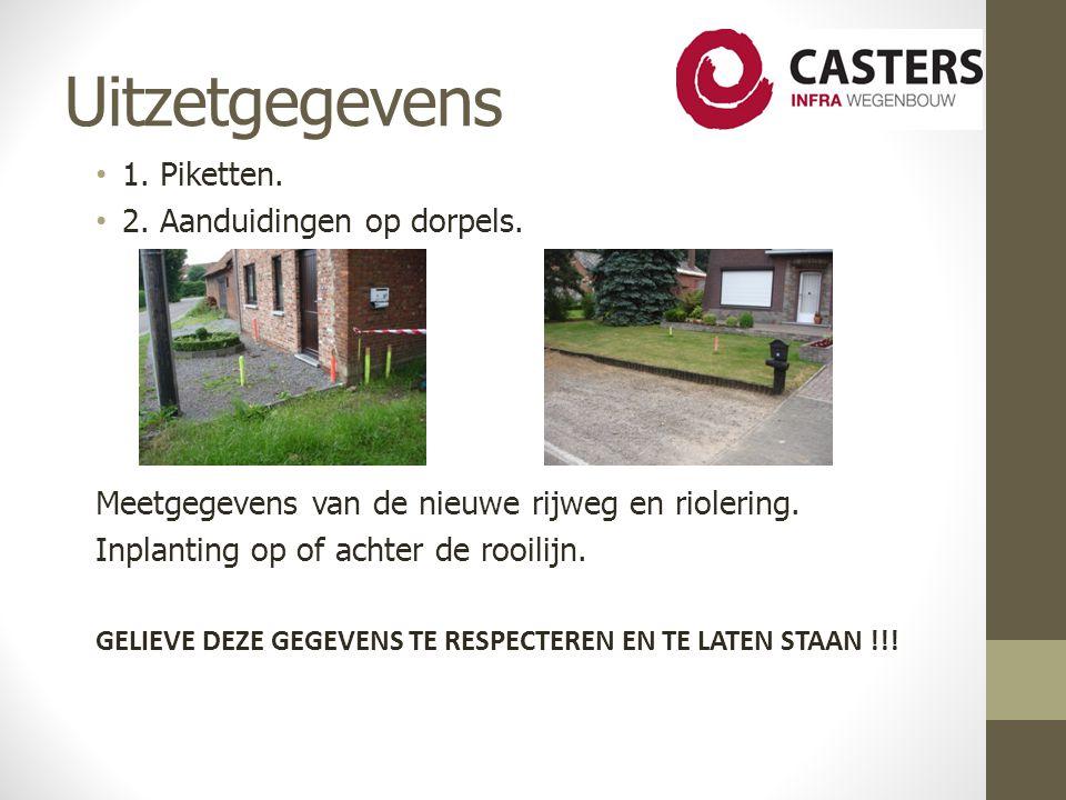 Uitzetgegevens 1. Piketten. 2. Aanduidingen op dorpels.