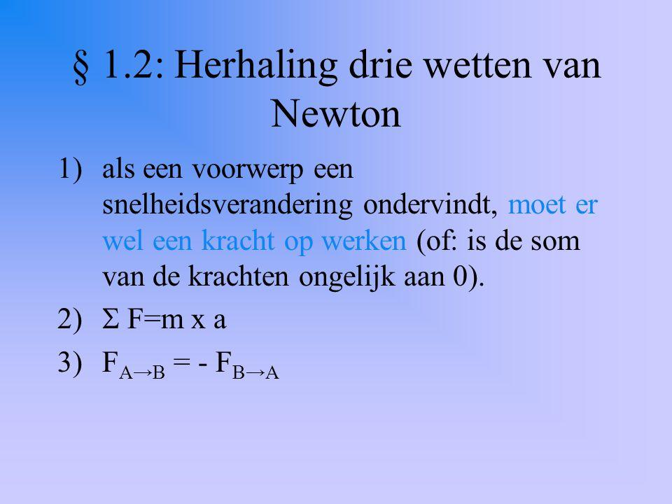 § 1.2: Herhaling drie wetten van Newton