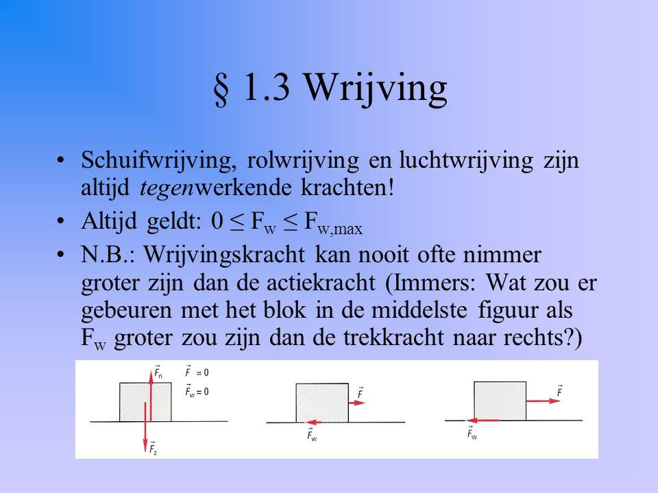 § 1.3 Wrijving Schuifwrijving, rolwrijving en luchtwrijving zijn altijd tegenwerkende krachten! Altijd geldt: 0 ≤ Fw ≤ Fw,max.