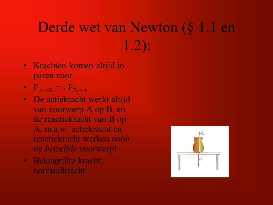 Derde wet van Newton (§ 1.1 en 1.2):