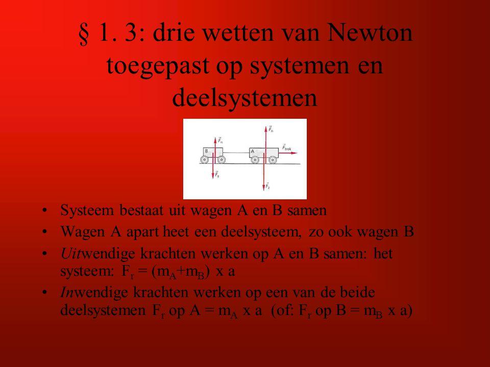 § 1. 3: drie wetten van Newton toegepast op systemen en deelsystemen
