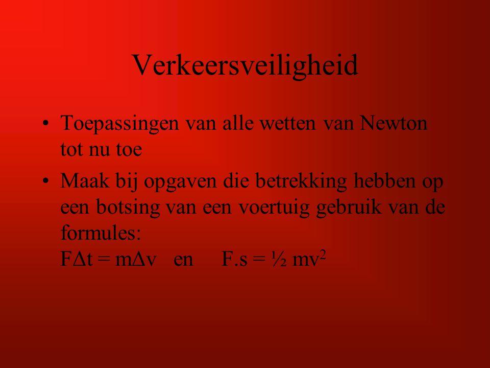 Verkeersveiligheid Toepassingen van alle wetten van Newton tot nu toe