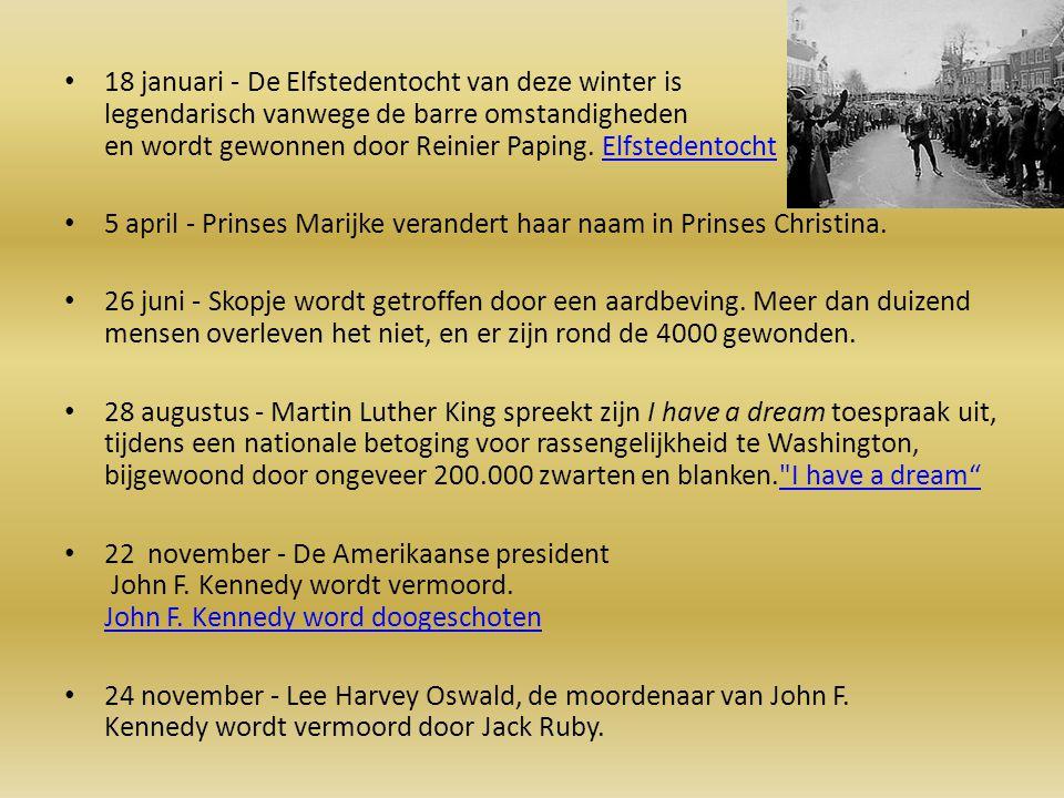 18 januari - De Elfstedentocht van deze winter is legendarisch vanwege de barre omstandigheden en wordt gewonnen door Reinier Paping. Elfstedentocht