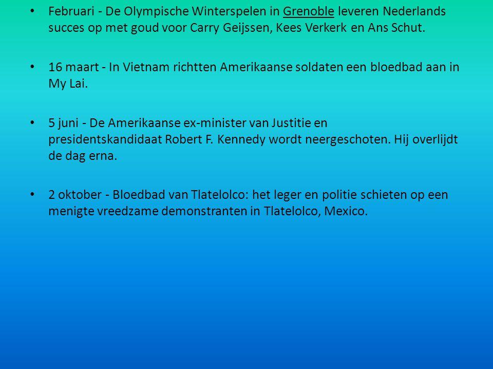 Februari - De Olympische Winterspelen in Grenoble leveren Nederlands succes op met goud voor Carry Geijssen, Kees Verkerk en Ans Schut.