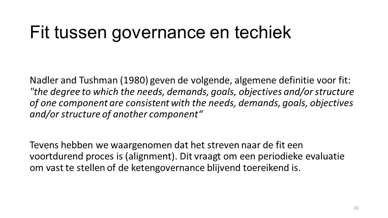 Fit tussen governance en techiek