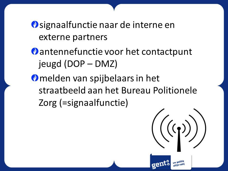 signaalfunctie naar de interne en externe partners